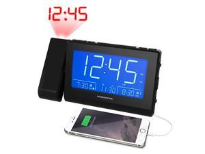 Bluetooth Speaker Alarm Clock Radio with Dual USB Charging for Smartphones Tablets Time Projection Auto Dimming Dual Alarm Battery Backup and Custom Alarm Recording CR65