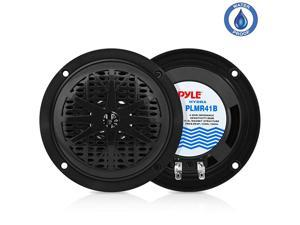 4 Inch Dual Marine Speakers Waterproof and Weather Resistant Outdoor Audio Stereo Sound System with Polyprone Cone Cloth Surround and Low Profile Design 1 Pair PLMR41W Black