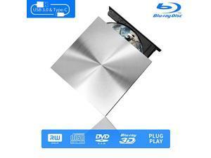 Blu Ray External 3D Drive Reader  USB C 30 and TypeC External Drive Bluray Optical CD DVD Drive for MacBook Windows Laptop Desktop PC Laptop