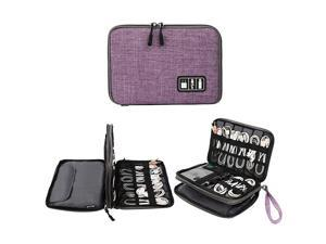 Electronics Organizer  Electronic Accessories Cable Organizer Bag Waterproof Travel Cable Storage Bag for Charging Cable Cellphone Mini Tablet Up to 79 and MorePurple and Gray