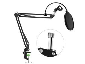 Professional Microphone Stand with Pop Filter Heavy Duty Microphone Suspension Scissor Arm Stand and Windscreen Mask Shield for Blue Yeti Snowball, Recordings, Broadcasting, Streaming, Singing
