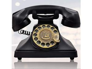 Rotary Dial Telephone Retro Old Fashioned Landline Phones with Classic Metal BellCorded Phone with Speaker and Redial Function for Home and DecorClassic Black