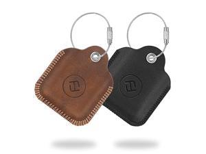 2 Pack  Genuine Leather Case for Tile MateTile ProTile SportTile StyleCube Pro Key Finder Phone Finder AntiScratch Protective Skin Cover with Keychain