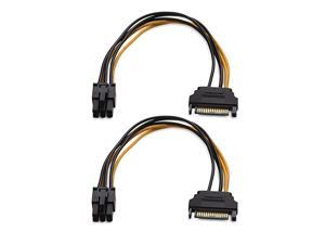 2Pack 6 Pin to SATA Power SATA to 6 Pin PCIe 8 Inches