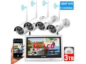 8CH Expandable All in one with 12 LCD Monitor Wireless Security Camera System Home Business 8CH 1080P NVR Kit 4pcs 2MP Outdoor Bullet IP Cameras Night Vision Waterproof3TB Hard Drive
