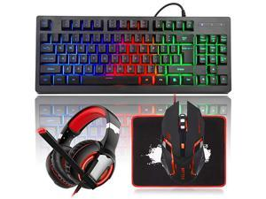 RGB Rainbow Backlit Gaming Keyboard and Mouse Combo LED PC Gaming Headset with Microphone Large Mouse Pad Small Compact 87 Keys USB Wired Mechanical Feeling Keyboard for Computer Gamer Office
