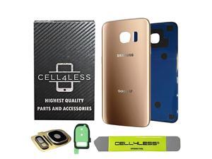 Compatible Back Glass Cover Back Battery Door w/Custom Removal Tool & Installed Adhesive Replacement for Samsung Galaxy S7 - All Models G930-2 Logo - OEM Replacement (Gold)