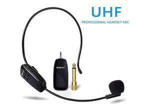 Microphone Headset UHF Headset Mic System 160ft Range Headset Mic and Handheld Mic 2 in 1 1814 Plug for Speakers Voice Amplifier PA System Not Supported iPhone AUX