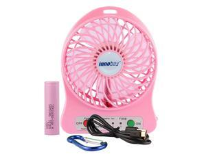 4inch Handheld Portable Mini USB Fan Powered by 18650 Lithium Rechargeable Battery 4 Vanes 3 out of 4 Shifts for Wind Speeds Control 1 Shift of Led Light Charged by 5V 1A Adapter or Micro USB Cable v