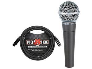 SM58-LC Cardioid Dynamic Vocal Microphone with Pig Hog XLR Mic Cable 10 Ft