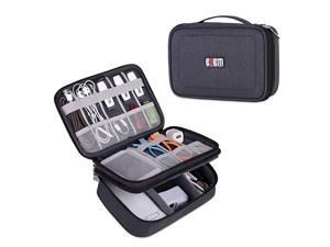Electronic Organizer Double Layer Travel Gadget Storage Bag for Cables Cord USB Flash Drive Power Bank and Morea Sleeve Pouch for 79 iPad MiniMediumBlack
