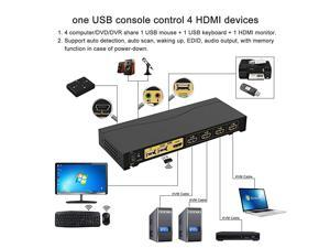 4Kx2K Ultra HD 4 Port HDMI Cables KVM Switch Control 4 ComputersDVRNVR with USB 20 Hub and Audio Support Keyboard Mouse Switching for Linux Windows Mac Unix