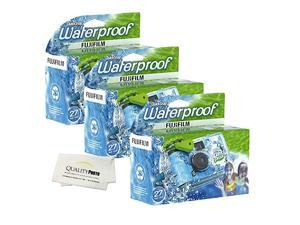 Quick Snap Waterproof 27 exposures 35mm Camera 800 Film 1 Pack + Quality Photo Microfiber Cloth 3 Pack