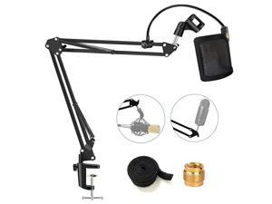 Heavy Duty] Microphone Stand with U-shaped Steel Mesh Mic Pop Filter, Suspension Boom Scissor Arm Stand Mic Clip Holder for Blue Yeti, Snowball & Other Mic in Recording, Broadcasting, Etc.