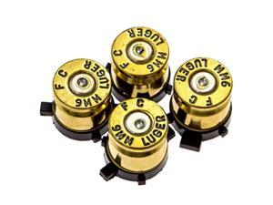 Bullet Buttons Gold Silver Made Using Real Once Fired 9MM Bullet Casings - Designed for PS3 and PS2 Controllers