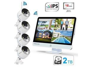 Long Range Wireless Outdoor Home Security Camera System with 16inch 1080p IPS Monitor 2TB Hard Drive Floodlight Audio 3MP Spotlight IP Cameras 8CH WiFi Surveillance System 2 Way Audio