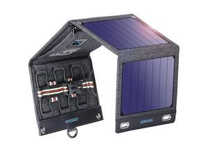 Solar Charger Solar Panel Charger  16W Foldable Solar Phone Charger with 2 USB Ports amp Display Function for iPhone iPad Android Power Bank Waterproof Portable for Outdoor Camping