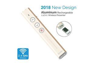 Aluminum 24G Rechargeable Wireless Presenter Remote Clicker with Red Pointer Mac Keynote and Windows PowerPoint PPT Clicker Office Presentation Pointer Gold