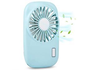 Portable Fan Mini Pocket Fan with 2 Speed Adjustable Small Handheld Imitation Camera Personal Fan USB Rechargeable or Battery Powered for WomanManGirlsBoys Blue