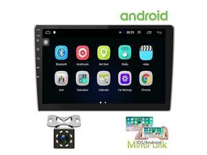 101 Inch Android Car Stereo with GPS Double Din Car Radio Bluetooth FM Radio Receiver Support WiFi Connect Mirror Link for AndroidiOS Phone + Dual USB Input amp 12 LEDs Backup Camera