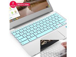 2pcs]  Keyboard Cover for Dell chromebook 11.6 inch,Dell Chromebook 3100/3120/3180/3189/3181/5190,Dell chromebook Keyboard Cover 13.3,DELL chromebook 3380(Mint+Clear)