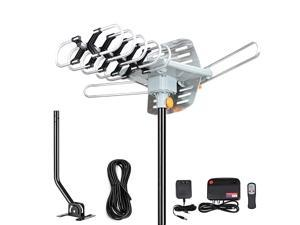 Amplified Digital HDTV Antenna 150 Mile Motorized 360 Degree Rotation Amplified HD TV Antenna for 2 TVs Support UHFVHF 4K 1080P with Mounting Pole 33 ft RG6 Coax Cable