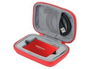 Hard Travel Case for Samsung T3 T5 Portable 250GB 500GB 1TB 2TB SSD USB 30 External Solid State Drives by  Red