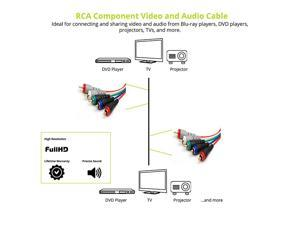 RCA 5 Cable Component Video Cable with Audio 12 Feet