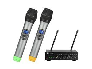 UHF Dual Channel Wireless Handheld Microphone Easytouse Karaoke Wireless Microphone SystemK036