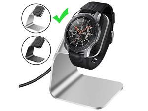 Compatible with Samsung Galaxy Watch Charger 42mm 46mm Gear S3 Charger Dock Stand, Replacement Aluminum Charging Cable Cord Station Cradle Base with 4.2ft USB Accessory (Not for Active) (Silver)