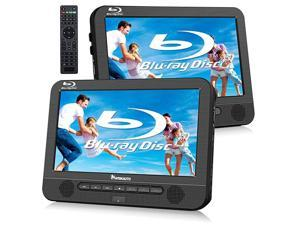 101quot Blu Ray Dual Car DVD Players with Rechargeable Battery Support 1080P Video HDMI Out Sync Screen Dolby Audio AV in amp Out USB SD Host DVD Player+ Slave Monitor
