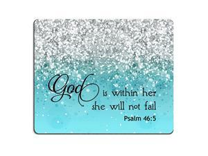 Psalm 465 God is Within HerShe Will not Fall Bible Verse Blue Sparkles Glitter Pattern Mouse pad Mousepads