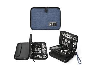 Electronics Organizer  Electronic Accessories Cable Organizer Bag Waterproof Travel Cable Storage Bag for Charging Cable Power Bank Mini Tablet Up to 79 and More Black and Blue