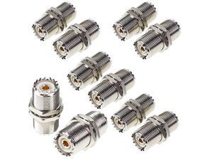Female to Female Connector Nut Bulkhead Panel Mount 10Pcs to SO239 Jack RF Coaxial Coax Cable Adapter Plug for PL259