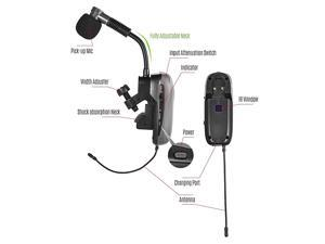 Baomic BM12V2 Professional UHF Wireless Instrument Microphone System Receiver Transmitter 16 Channels for Sax Saxophone French Horn Trumpet Trumbone