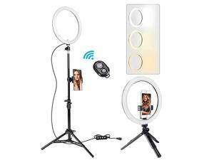 10quot Selfie Ring Light with 59quot Tripod Stand and Phone Holder30006000K LED Ring Light Kit for Live StreamMakeupYouTube VideoVlogsDesktop Compatible with iOS Android Phone