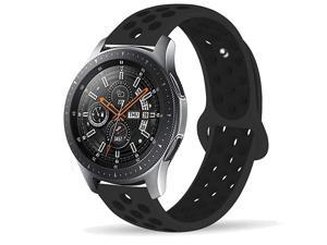 Samsung Gear S3 Frontier/Samsung Galaxy Watch 46mm Bands,22mm Silicone Breathable Replacement Strap Quick-Release Pin for Gear S3 Frontier Smart Watch (Black-Black)