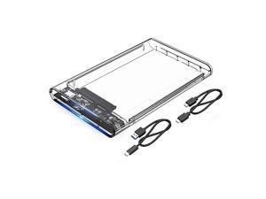 2.5 USB C Enclosure 3.1 HDD External Enclosure SATA III to Gen2 Thunderbolt 3 Drive Case Transparent Tool-Free for 7/9.5mm SSD Support UASP Up to 4TB Compatible with Seagate WD Samsung PS4 Xbox