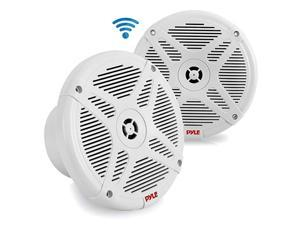 Inch Dual Marine Speakers Waterproof and Bluetooth Compatible 2Way Coaxial Range Amplified Audio Stereo Sound System with Wireless RF Streaming and 600 Watt Power 1 Pair PLMRFMW White
