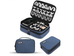 Electronics Organizer  Electronic Accessories Cable Organizer Bag Double Layer Travel Cable Storage Bag for Cables Laptop Charger Tablet Up to 11 and MoreThick LargeBlack and Blue