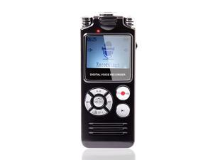 Digital Voice Recorder 16GB Voice Activated Variable Speed Playback Zinc Alloy Shel Built in Ultra Sensitive Microphones and Mp3 Player Black