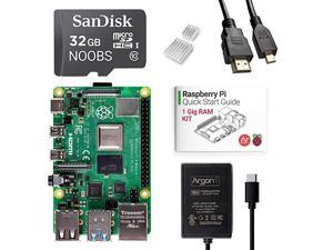 x Raspberry Pi 4 Kit 1 Gig   Barebones   PreInstalled with Noobs   Includes Micro HDMI to HDMI Cable TypeC Power Supply and Quick Start Guide for Raspberry Pi 4