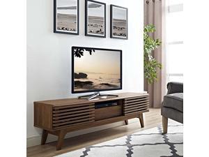 Render MidCentury Modern Low Profile 59 Inch TV Stand in Walnut