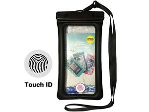 Fingerprint Unlock Waterproof Phone Case Floating Pouch TPU Dry Bag Universal for iPhone Samsung HTC LG Sony Cell Phone up to 70 Water Parks Hiking Boating Kayaking Rafting Beach