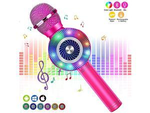 Karaoke Microphone, Kids Bluetooth Karaoke Microphone Portable Mic Player Speaker with LED for Christmas Birthday Home Party KTV Outdoor