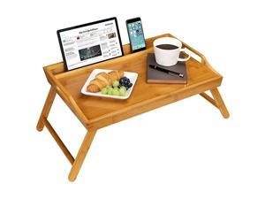 Home Media Bed Tray with Phone Holder Fits up to 173 Inch Laptops and Most Tablets Natural Bamboo Style No 78107