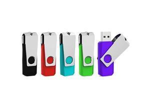 5 Pack 64GB USB Flash Drive 64 GB USB 3.0 Thumb Drive Memory Stick Zip Drives 64GB (5 Mixed Colors: Black Red Cyan Green Purple)