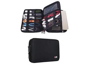 Double Layer Electronic Accessories Organizer Travel Gadget Bag for Cables USB Flash Drive Plug and More Perfect Size Fits for iPad Mini Medium Black