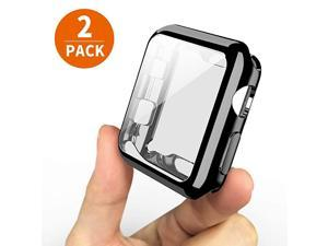 2-Pack]  Case for Apple Watch Series 5 44mm Screen Protector, One Soft TPU All-Around Black Cover and One Protective Bumper iWatch Case Both for Apple Watch Series 4 Series 5(Black, 44mm)