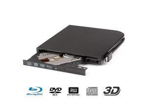 Blu RayDVD CD Drive Portable USB 2.0 3D Blu-Ray Player Type-C DVD BD-ROM Burner CD/DVD-RW Drive for PC Notebook (A, Black)
